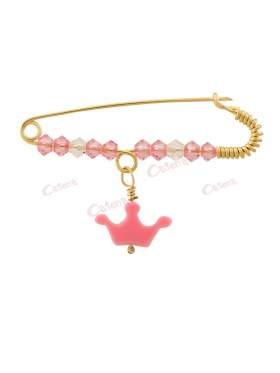Παραμάνα χρυσή για νεογέννητο κοριτσάκι, σχέδιο ροζ κορώνα με άσπρες και ροζ πέτρες