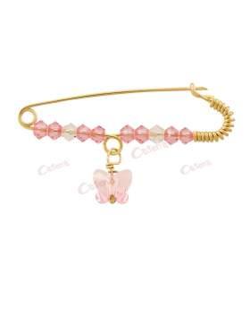 Παραμάνα χρυσή για νεογέννητο κοριτσάκι, σχέδιο ροζ πεταλούδα με άσπρες και ροζ πέτρες