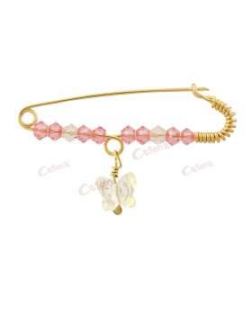 Παραμάνα χρυσή για νεογέννητο κοριτσάκι, σχέδιο λευκή διαφανής πεταλούδα με άσπρες και ροζ πέτρες