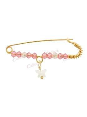 Παραμάνα χρυσή για νεογέννητο κοριτσάκι, σχέδιο άσπρη πεταλούδα από φίλντισι με άσπρες και ροζ πέτρες