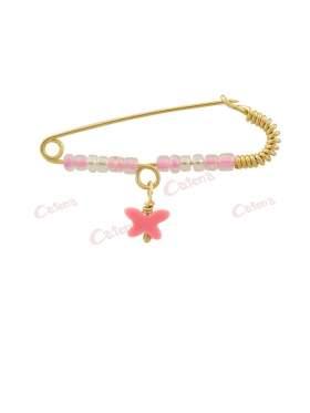 Παραμάνα χρυσή για νεογέννητο κοριτσάκι, σχέδιο ροζ πεταλούδα και άσπρες πέτρες