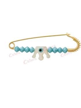 Παραμάνα χρυσή για νεογέννητο αγοράκι, σχέδιο ανάποδη κορώνα από φίλντισι και μπλε πέτρες