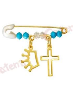 Παραμάνα χρυσή για νεογέννητο με σχέδιο κορώνα και σταυρό και πέτρες