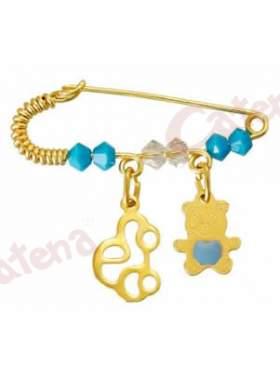 Παραμάνα χρυσή για νεογέννητο με σχέδιο αυτοκινητάκι και αρκουδάκι και πέτρες άσπρες και γαλάζιες  για το μάτι