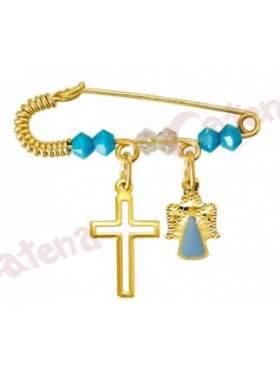 Παραμάνα χρυσή για νεογέννητο με σχέδιο αγγελάκι και σταυρουδάκι και πέτρες άσπρες και γαλάζιες  για το μάτι