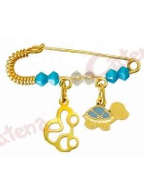 Παραμάνα χρυσή για νεογέννητο με σχέδιο αυτοκινητάκι και χελωνίτσα και πέτρες άσπρες και γαλάζιες  για το μάτι