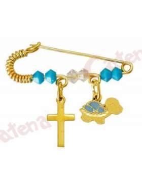 Παραμάνα χρυσή για νεογέννητο με σχέδιο χελωνίτσα και σταυρουδάκι και πέτρες άσπρες και γαλάζιες  για το μάτι