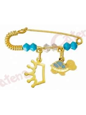 Παραμάνα χρυσή για νεογέννητο με σχέδιο κορώνα και χελωνίτσα και πέτρες άσπρες και γαλάζιες  για το μάτι