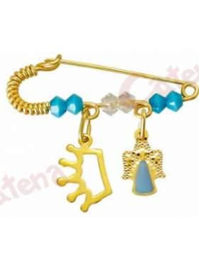 Παραμάνα χρυσή για νεογέννητο με σχέδιο αγγελάκι και κορώνα και πέτρες άσπρες και γαλάζιες  για το μάτι