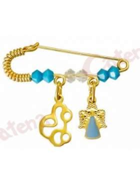 Παραμάνα χρυσή για νεογέννητο με σχέδιο αγγελάκι και αυτοκινητάκι και πέτρες άσπρες και γαλάζιες  για το μάτι