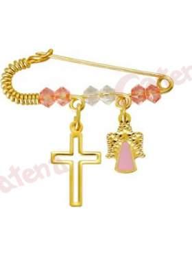Παραμάνα χρυσή για νεογέννητο με σχέδιο αγγελάκι και σταυρουδάκι και πέτρες άσπρες και ρόζ για το μάτι
