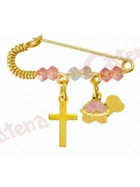 Παραμάνα χρυσή για νεογέννητο με σχέδιο χελωνίτσα και σταυρουδάκι και πέτρες άσπρες και ρόζ για το μάτι