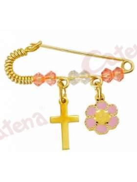 Παραμάνα χρυσή για νεογέννητο με σχέδιο μαργαρίτα και σταυρουδάκι και πέτρες άσπρες και ρόζ για το μάτι