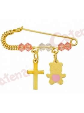 Παραμάνα χρυσή για νεογέννητο με σχέδιο αρκουδάκι και σταυρουδάκι και πέτρες άσπρες και ρόζ για το μάτι