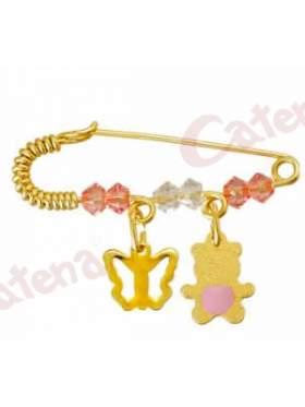 Παραμάνα χρυσή για νεογέννητο με σχέδιο πεταλούδα και αρκουδάκι και πέτρες άσπρες και ρόζ για το μάτι