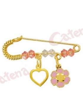 Παραμάνα χρυσή για νεογέννητο με σχέδιο μαργαρίτα και καρδούλα και πέτρες άσπρες και ρόζ για το μάτι