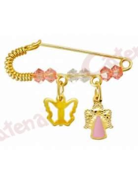 Παραμάνα χρυσή για νεογέννητο με σχέδιο πεταλούδα και αγγελάκι και πέτρες άσπρες και ρόζ για το μάτι