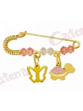 Παραμάνα χρυσή για νεογέννητο με σχέδιο χελωνίτσα και πεταλουδίτσα και πέτρες άσπρες και ρόζ για το μάτι