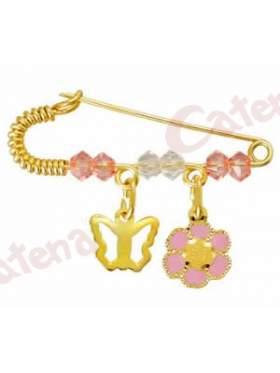 Παραμάνα χρυσή για νεογέννητο με σχέδιο πεταλούδα και μαργαρίτα και πέτρες άσπρες και ρόζ για το μάτι
