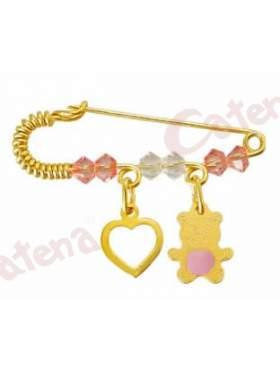 Παραμάνα χρυσή για νεογέννητο με σχέδιο καρδιά και αρκουδάκι και πέτρες άσπρες και ρόζ για το μάτι