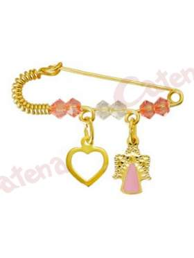 Παραμάνα χρυσή για νεογέννητο με σχέδιο αγγελάκι και καρδιά και πέτρες άσπρες και ρόζ για το μάτι