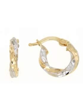 Σκουλαρίκια χρυσά δίχρωμα με λευκόχρυσο σε σχέδιο κρίκο καράτια 14