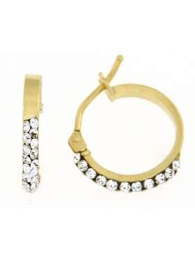 Σκουλαρίκια χρυσά με άσπρες πέτρες σε σχέδιο κρίκο καράτια 14