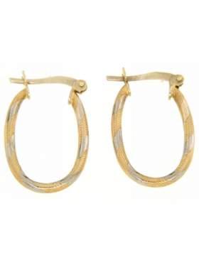 Σκουλαρίκια χρυσά σε σχέδιο κρίκο καράτια 14 δίχρωμο