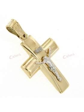 Σταυρός χρυσός με λευκόχρυσο Εσταυρωμένο στο κέντρο λούστρε και ματ σε 14 καράτια
