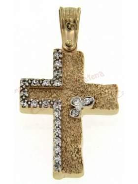 Σταυρός γυναικείος δίχρωμος χρυσός με λευκόχρυσο και άσπρες πέτρες ζιργκόν