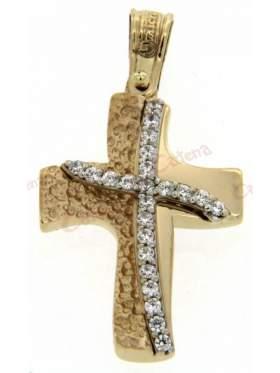 Σταυρός γυναικείος δίχρωμος χρυσός με λευκόχρυσο και άσπρες πέτρες ζιργκόν σε ελεύθερο σχέδιο