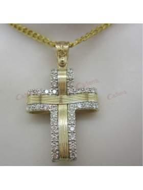 Σταυρός γυναικείος δίχρωμος χρυσός με λευκόχρυσο και πέτρες άσπρες ζιργκόν σε ελεύθερο σχέδιο