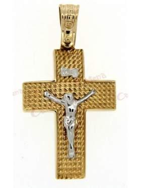 Σταυρός αντρικός χρυσός δίχρωμος με τον Εσταυρωμένο στο κέντρο