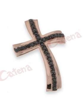 Σταυρός ασημένιος, επιπλατινωμένος, σε ρόζ χρυσό στολισμένος με μαύρες πέτρες ζιργκόν