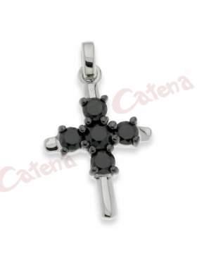 Σταυρός ασημένιος επιπλατινωμένος, στολισμένος με μαύρες πέτρες ζιργκόν
