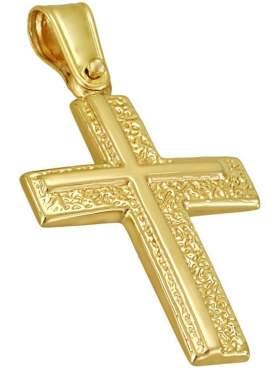 Σταυρός χρυσός ανδρικός σκαλιστός καράτια 14