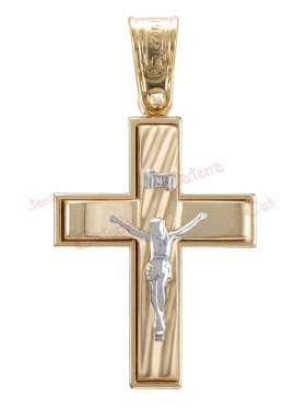Σταυρός αντρικός με εσταυρωμένο δίχρωμος με λευκόχρυσο σε 14 καράτια