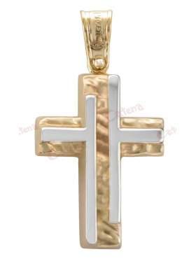 Σταυρός αντρικός δίχρωμος με λευκόχρυσο και κίτρινο χρυσό σε σφυρήλατη γραμμή