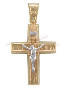 Σταυρός αντρικός με εσταυρωμένο δίχρωμος χρυσός με λευκόχρυσο