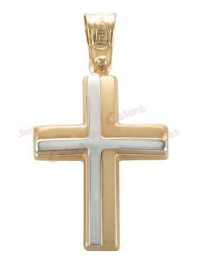 Σταυρός αντρικός δίχρωμος χρυσός με λευκόχρυσο
