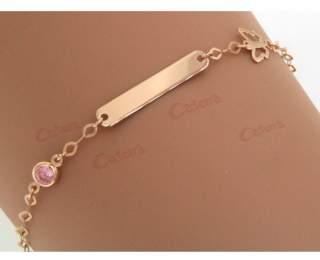 Ταυτότητα παιδική σε ροζ χρυσό 14κ 1.3gr με πεταλούδα και ροζ ζιργκόν πέτρα