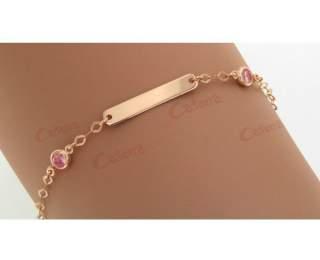 Ταυτότητα παιδική σε ροζ χρυσό 14κ 1.3gr με ροζ ζιργκόν πέτρες