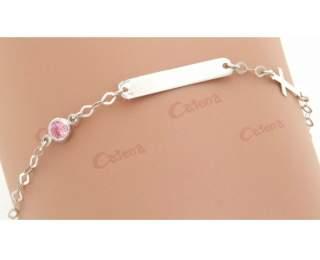 Ταυτότητα παιδική λευκόχρυση 14κ 1.3gr με ροζ πέτρα ζιργκόν και σταυρουδάκι