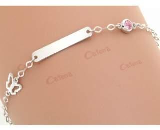 Ταυτότητα παιδική λευκόχρυση με πεταλούδα και ροζ πέτρα ζιργκόν