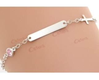 Ταυτότητα παιδική λευκόχρυση 14κ 1.3gr με ροζ πέτρα ζιργκόν και σταυρό