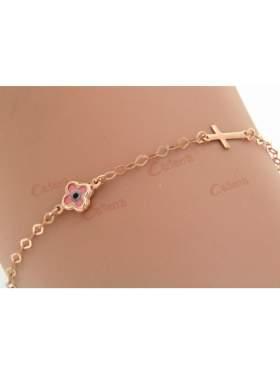 Βραχιόλι χρυσό με σταυρό και μάτι ροζ σε σχέδιο σταυρό