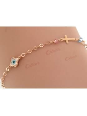 Βραχιόλι με ροζ χρυσό με μάτι σταυρό και πέτρες ζιργκόν και γυαλιστερό σταυρό