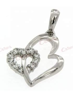 Ασημένιο μενταγιόν, σε σχέδιο διπλές καρδιές και η μια στολισμένη με άσπρες πέτρες ζιργκόν
