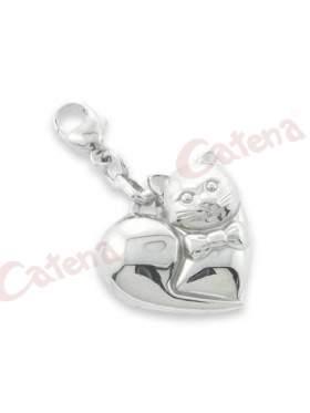 Ασημένιο μενταγιόν επιπλατινωμένο σε σχέδιο καρδιά με γάτα