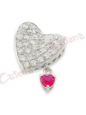 Μενταγιόν ασημένιο επιπλατινωμένο, σχέδιο καρδιά  στολισμένη με άσπρες πέτρες ζιργκόν και μικρή καρδιά στολισμένη με κόκκινη πέτρα ζιργκόν